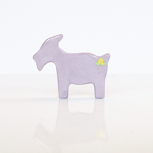 Lilac Goat Figurine with Yellow Flowers
