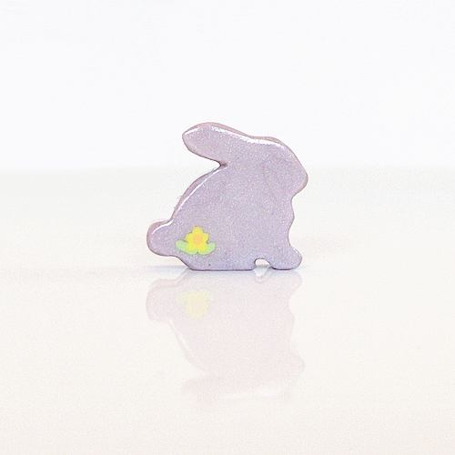 Lilac Bunny Figurine with Yellow Flowers