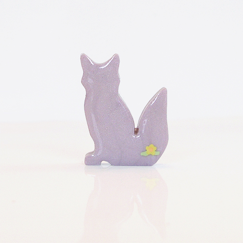 Lilac Fox Figurine with Yellow Flowers