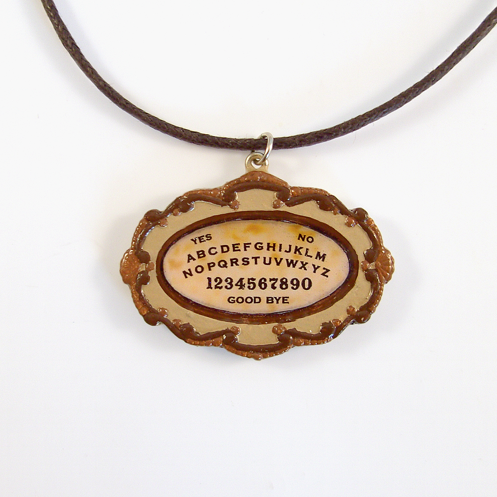 Small Polymer Clay Ouija Board Pendant and Necklace