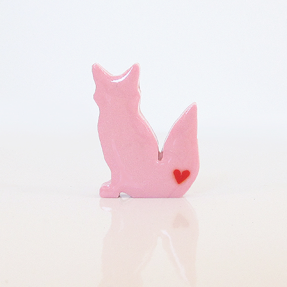 Light Pink Fox Figurine with Red Hearts