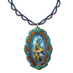 Alice in Wonderland Clay Pendant and Lace Beadwork Necklace