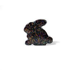 Black Rabbit Figurine with Rainbow Glitter
