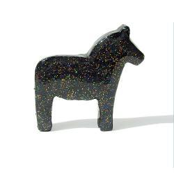 Black Dala Horse Figurine with Rainbow Glitter